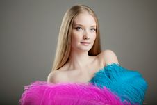 Free Beautiful Girl With Colorful Feathers Stock Image - 19418391