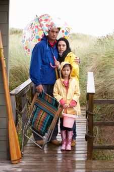 Free Family On Beach With Umbrella Royalty Free Stock Photography - 19421057