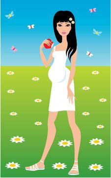 Free Pregnant Woman Eats An Apple Royalty Free Stock Photos - 19421808