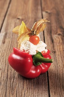 Free Cheese Filled Red Bell Pepper Stock Images - 19422124
