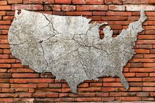 Free Cement Cracking Image United State Map Royalty Free Stock Photography - 19422367