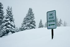 Parking In A Snow Storm Stock Images