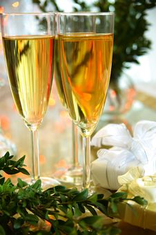 Free Champagne In Glasses And Green Twig Royalty Free Stock Photos - 19423728