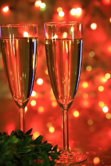 Free Champagne In Glasses And Lights Stock Photography - 19423812