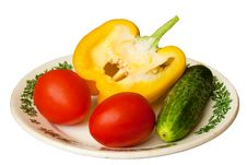 Free Pepper, Tomato And Cucumber Royalty Free Stock Image - 19424486