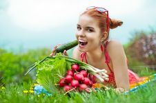 Beautiful Happy Woman With Colourful Vegetables Royalty Free Stock Photography