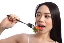Free Exotic Beautiful Oriental Girl Eating Strawberry Stock Photos - 19426323