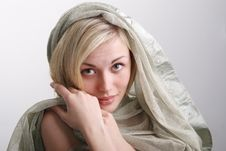 Free Portrait Of The Girl Of The Blonde With A Fabric. Stock Photos - 19426353
