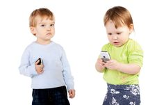 Free Isolated Surprised Little Girl And Boy The Phone Royalty Free Stock Photos - 19426518