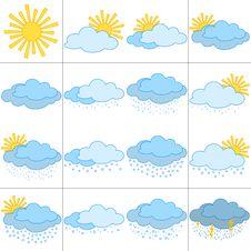 Free Set Weather Icons Stock Photography - 19427032
