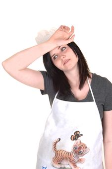 Free Exhausted Cooking Girl. Stock Image - 19427061
