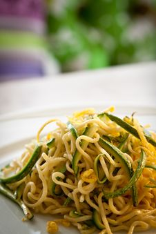 Free Tagliolini With Courgettes, Portrait Stock Image - 19427811