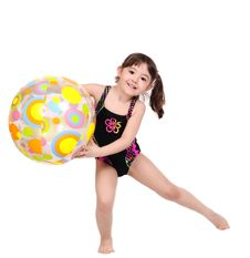 Free Adorable Little Girl In Swimsuit With Beach Ball. Stock Photography - 19428012
