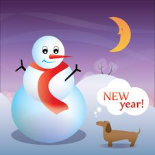 New Year Card With A Dog And A Snowman Royalty Free Stock Image