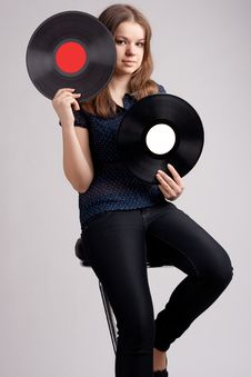 Free Girl With Two Musical Records Stock Photos - 19428983