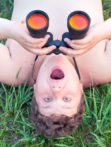 Free Man With Binoculars. Royalty Free Stock Image - 19429006