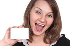 Young Woman With Business Card Stock Images