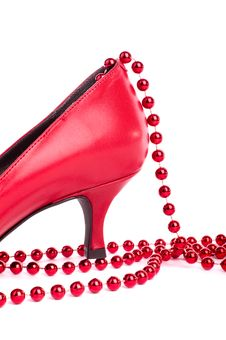 Part Of Red Shoe Stock Images