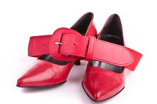 Free Red Shoes With Belt Stock Image - 19429241