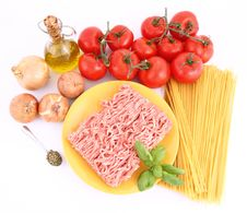 Spaghetti Bolognese Ingredients Royalty Free Stock Photos
