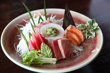 Mix Sashimi, Raw Fish Tuna And Salmon Sashimi Royalty Free Stock Image