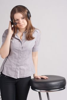 Free The Girl In Headphones Stock Image - 19430221