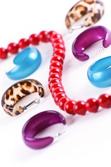 Free Different Ear-rings And Red Beads Stock Photo - 19430280