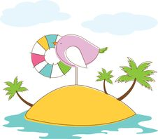 Free Bird In Island. Vector Illuatration Royalty Free Stock Image - 19430846