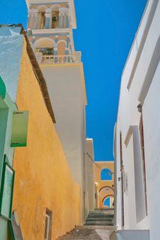 Colorful Old Street In Santorini Stock Photos
