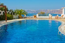 Free Blue Swimming Pool In Fira On Island Of Santorini Stock Photography - 19432062