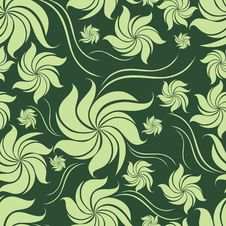 Free Seamless Green Floral Pattern With Leafs Stock Image - 19433571