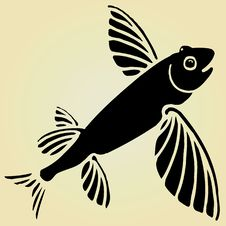 Free Flying Fish Black Woodcut Stock Photography - 19433852