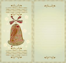 Free Christmas Card Color Woodcut Royalty Free Stock Photo - 19434825