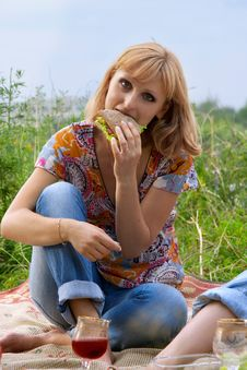 Free Young Girl Eating A Sandwich At A Picnic Stock Photo - 19435510