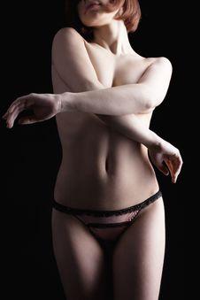 Beauty Nude Woman Body In Dark Stock Photos