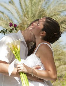 Free Newlyweds Having A Romantic Kiss Stock Photography - 19436762