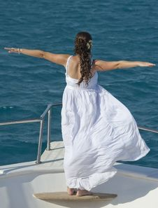 Free Bride On The Bow Of A Boat Stock Photo - 19436990