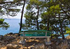 Free Coast, Bench And Sea At Brela, Croatia Stock Photos - 19437003