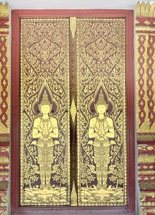 Free Thai Temple Doors. Royalty Free Stock Images - 19437529