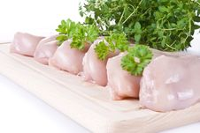 Raw Chicken Breasts On Chopping Board Royalty Free Stock Images