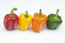 Four Different Coloured Peppers Royalty Free Stock Photos