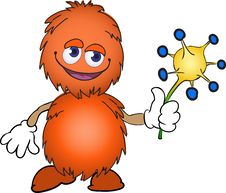 Free Orange Furry Creature With A Flower Stock Photos - 19438673