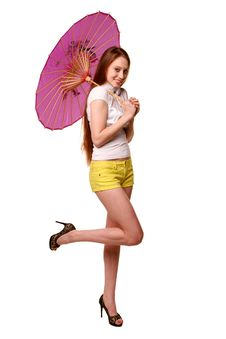 Free Pretty Girl Posing With Umbrella. Stock Images - 19439394