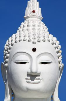 Free Face Of White Buddha In Thailand Temple Royalty Free Stock Photos - 19439818