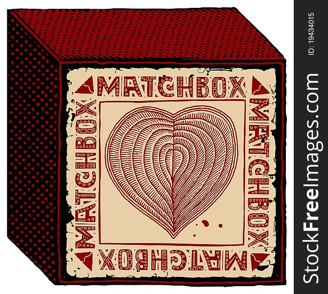 Matchbox red heart woodcut