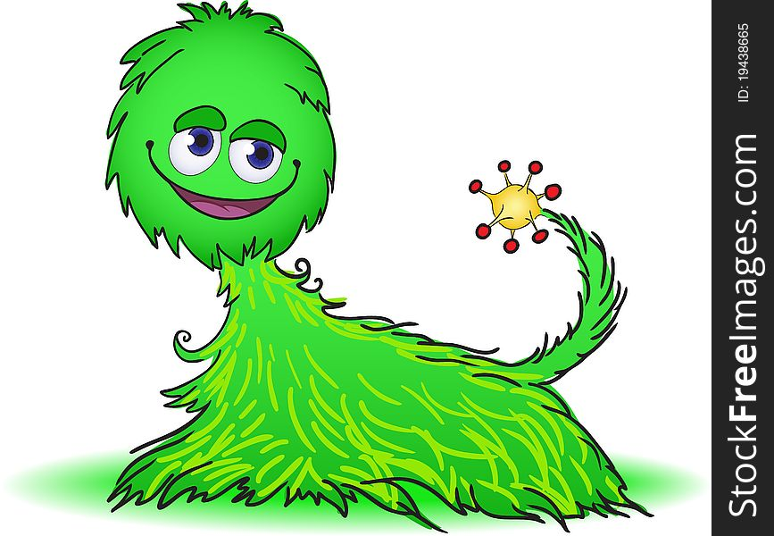 Green furry creature