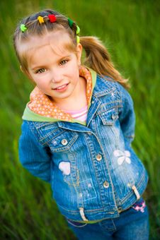 Free Cute Little Girl  On The Meadow Stock Photo - 19441050