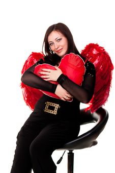 Beautiful Woman With Red Heart In Red Angel Wings Royalty Free Stock Photos