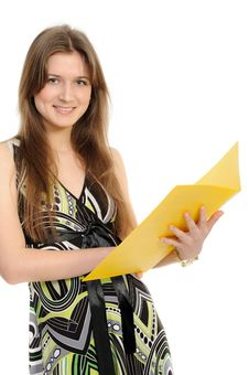 Free Woman With A Folder Royalty Free Stock Photo - 19441455