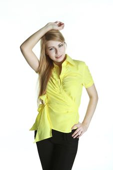 Relaxed Girl In Yellow Blouse Royalty Free Stock Image